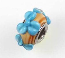 Lampwork Handmade Bead Big Hole Fit Bracelet Charm Beige Blue Petal Flower