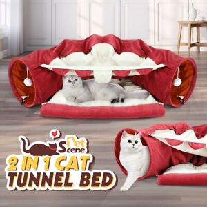 Petscene Pet Dog Cat Tunnel Bed Soft Cat Bed Mat Hanging Play Toys Center Red