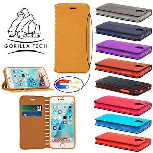 Designer Case Luxury Leather Flip Wallet Cover Protective+Gorilla Tempered Glass