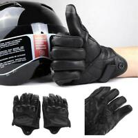 Riding Bike Racing Motorcycle Short Leather Gloves Protective Mesh Pair M L XL