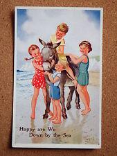 R&L Postcard: Valentine's Donkey Series, Rowles, No.1811, 1950s Children