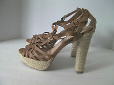 Deb Women 10 M Tan Platform Rope Heels Slingback Strappy T Strap Buckles Sandals