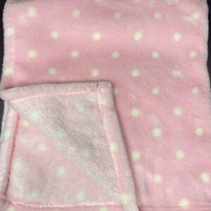 Baby Gear Pink White Polka Dots Blanket Cream Plush Fleece Lovey FAST SHIPPING