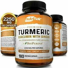NutriFlair Turmeric Curcumin with Ginger and BioPerine Black Pepper Supplement, 2250mg - 180 Capsules
