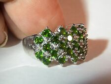Super Sparkling Enchanting Chrome Diopside Wide Band Ring SS 925 Ring Size 7