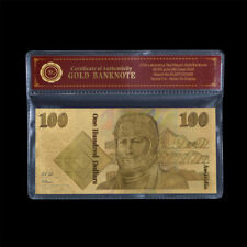 WR 24K Gold Foil Colored Australian $100 Dollar Note Old Novelty Banknote /w COA