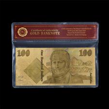 WR 24K Gold Foil Colored Australian $100 Dollar Note Old Novelty Banknote /w COA