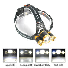 Bright 30000Lm Zoomable XML T6 3LED Headlamp Light Torch Lamp 18650 Battery ES