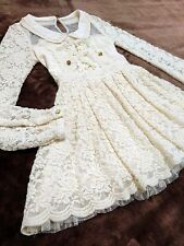 LIZ LISA Floral lace knitted dress See-through shoulder&Lace-up Japan Hime Size