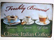 CLASSIC ITALIAN COFFEE METAL TIN SIGNS vintage cafe pub bar garage decor
