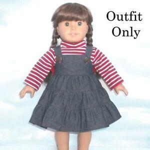 """New """"2 pc Denim Jumper & Striped Top""""  #87025L fits 18"""" American Girl Dolls"""