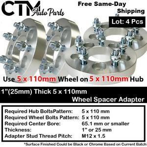 "4PC 1"" THICK 5x110 TO 5x110 WHEEL ADAPTER SPACER FIT CHEVY/SATURN/PONTIAC/MORE"
