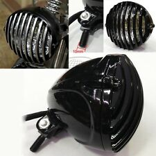 Scalloped Headlight Black Finned Grill Aluminum for Harley XS650 Bobber Chopper