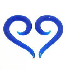 """PAIR 6G 4MM BLUE PYREX GLASS SPIRALS 1"""" 1/2 INCH LONG PLUGS HANGERS TALONS PLUG"""
