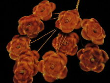 Vintage Millinery Flower Velvet for Hat Wedding Hair 10pc Coral Orange Peach SY