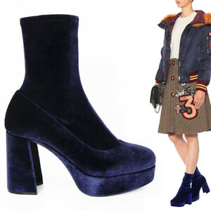 37 NEW $890 MIU MIU Blue Stretch Velvet SOCK PULL ON 95mm PLATFORM ANKLE BOOTS