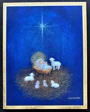 Caspari Christmas Cards SET OF 4 SMALL Baby Jesus Manger Nativity Foil Religious