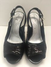 TAHARI Womens Black Sequins Slingback Pump High  Heels Size 9M Peep Toe Si Senor