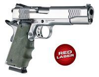 Hogue LE Colt 1911 Government Rubber Laser Grip w/Finger Grooves OD Green 45081