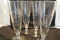 Set of 4 Vintage Pilsner Etched with Mallard Duck Pedestal Beer Glasses footed