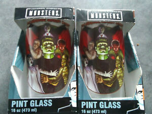 UNIVERSAL MONSTERS lot 2 Pint Glasses 16 OZ FRANKENSTEIN DRACULA WOLFMAN New