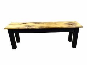 Barnwood & Black Bench (Rustic / Dinning / Entryway / Mudroom  Foyer Bench)