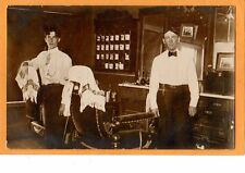 Real Photo Postcard RPPC - Two Barbers in Shop with Display of Shaving Mugs