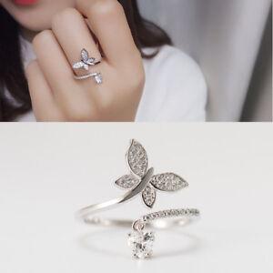 Damen Ring Schmetterling Herz echt Silber 925 Zirkonia 50-62 offen