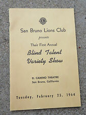 1964 San Bruno Ca Lions Club 1st Annual Blind Talent Variety Show Program