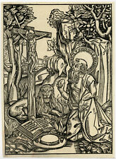 Rare Antique Print-SAINT JEROME-HIERONYMUS-LION-CARDINAL'S HAT-Anonymous-c. 1750