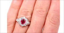 Stunning Halo Ruby 1.30ct G-H Diamond Baguette Halo Ring 5.5 ON SALE