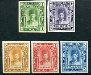 ZANZIBAR 1908 SULTAN IMPERF PROOFS ON UNGUMMED PAPER OF SG234/8