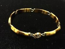 """Beautiful 10K Gold and Tiger Eye Happiness Bracelet 7.5"""" Not Scrap"""