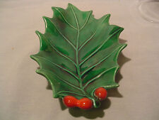 Christmas Holland Mold 40-60's Leaf w/ Holly Ashtray/dish Collectible Excellent