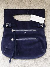 Club Monaco Purple Leather Suede Purse Paris Tote Sac Retro Purple Fringe Buckle