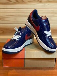 Nike Air Force 1 Low Patent Leather Navy/Red/White 306353-462 DS Rare Vintg Sz 9