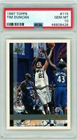 TIM DUNCAN 1997-98 Topps Rookie Card RC #115 PSA 10 Gem Mint Spurs HOF