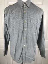 J Crew Mens Large Oxford Shirt Blue Gray Checked LS Button Shirt