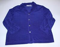 Chicos Womens Blouse Dark Purple Button Up Long Sleeve Top Size 3 XL