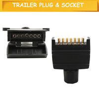 TRAILER PLUG & SOCKET 7 PIN FLAT CONNECTORS FOR CAR BOAT CARAVAN