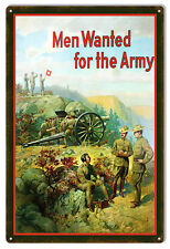 Reproduction Men Wanted For The Army Military Sign