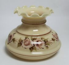 """Beige Glass Student Lamp Shade Pink Floral Crimp Top - 7"""" Fitter"""