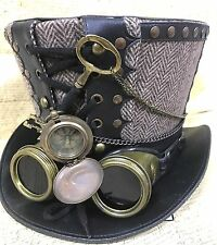SDL Herringbone BlackLeather look hat with  Brass Compass &Goggles Size 57,58,59