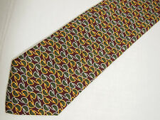 """Brooks Brothers Makers Mens Necktie Tie Red Green Gold Metal Link Chain Silk 57"""""""