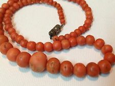 30.5 gram necklace natural Rare m1089 Antique Old authentic undyed Coral beads