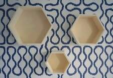 3 Wooden Unfinished Hexagonal Retro Boxes Shelf Shelves Decorate