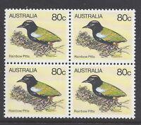 Australia 1980 80c Rainbow Pitta Block of 4 Stamps