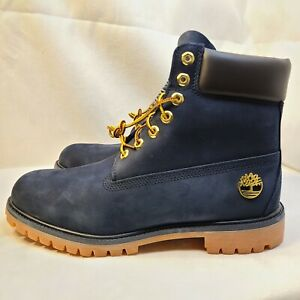 Timberland 6 Inch Premium Waterproof Boots Navy Blue Suede A1B8P Men's Size 10.5