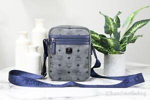 MCM Mini Men's Pebbled Leather Visetos Diamond Phantom Grey Blue Crossbody Bag