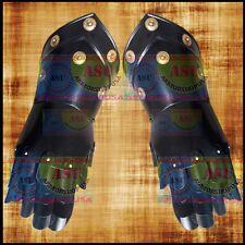 Medieval Gauntlets Pair Iron Steel Black w/ Leather Gloves Roman Knight Gauntlet
